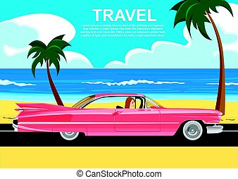 Young woman driving a retro car along the sea coast