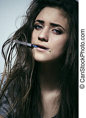 young woman drug addict - young depressed woman drug addict...