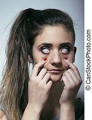 young woman drug addict