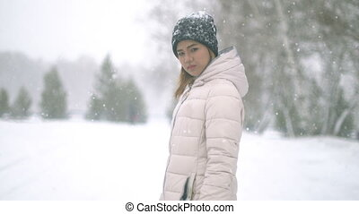 Young Woman during snow storm