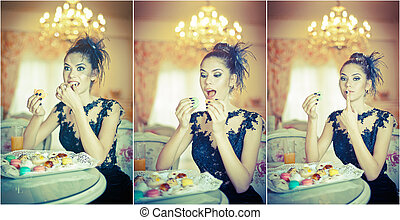 Young woman eating macaroons
