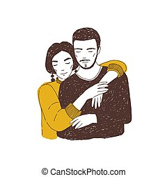 Young woman embracing man. Adorable lovers or romantic partners cuddling. Hand drawn portrait of boyfriend and girlfriend or cute couple in love. Realistic vector illustration for Valentine's day.