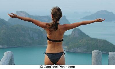 young woman enjoy ang thong national marine park