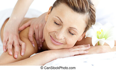 Young woman enjoying a back massage