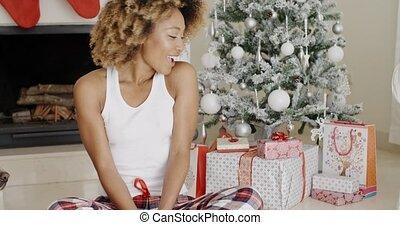 Young woman enjoying Christmas