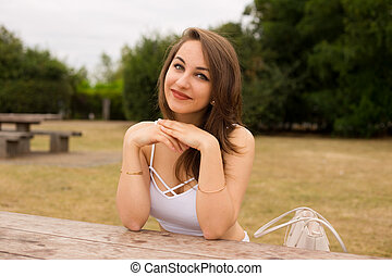 sitting in the park