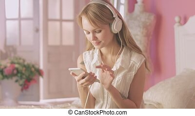 Young woman enjoying the music