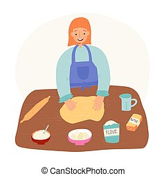 Young woman enjoys baking, make dough and beat it. Ingredients like butter, flour, sugar and eggs lie nearby.