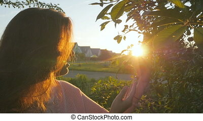 Young woman enjoys smell of cherry on branch at sunrise in countryside garden
