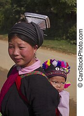 Young woman ethnic black Dao with h