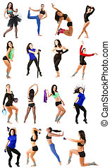 Young woman exercising collage -...