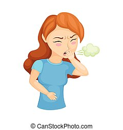 Young Woman Experiencing Acid Regurgitation or Belching Vector Illustration. Female Suffering from Gastritis Symptom Concept