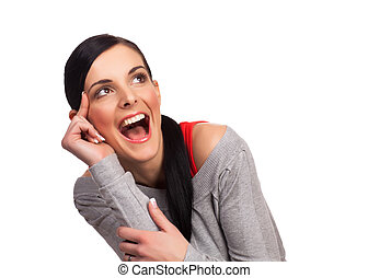 Young woman expressing happiness isolated