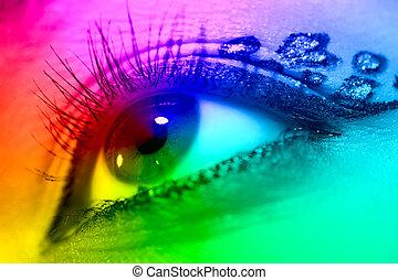Young woman eye closeup. Spectrum colors effect.