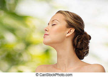 young woman face and shoulders - beauty, people and health...