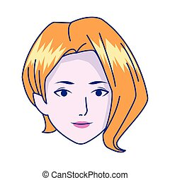 Young woman face icon, colorful design