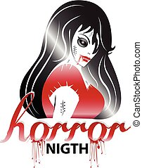 Halloween horror icon logo