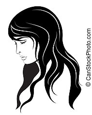 young woman face. Vector.