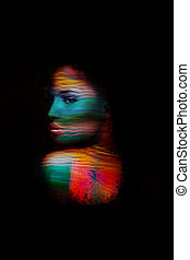 young woman fantasy portrait double exposure