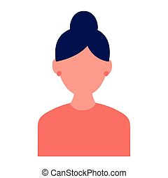 young woman female character icon