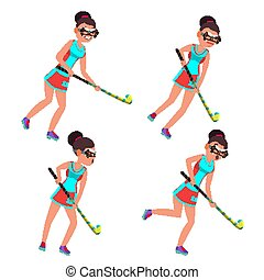 Young Woman Field Hockey Player Vector. Grass Hockey Game....