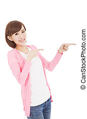 young woman finger pointing something