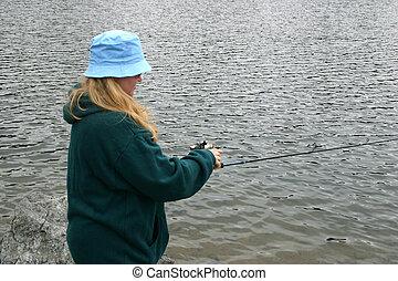 Young Woman Fishing