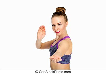 Young woman fitness instructor isolated - Young woman...