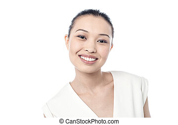 Young woman flashing a smile