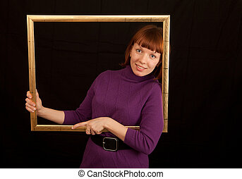 young woman frame leaning