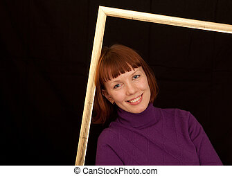 young woman frame leaning closeup