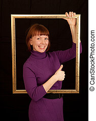 young woman frame thumbs up