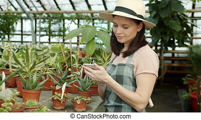 Young woman gardener and blogger is taking pictures of plants in greenhouse using smartphone camera and touching screen. People and gardening concept.