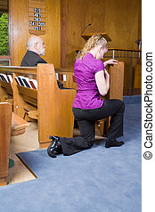 Young Woman Genuflecting Sign of the Cross Church Pew -...