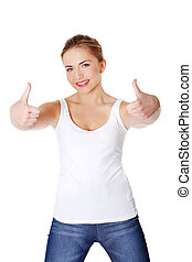 Young woman gesturing OK
