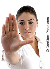 young woman gesturing to stop