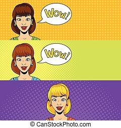 Young woman get a present vector illustration retro halftone pop art comics style