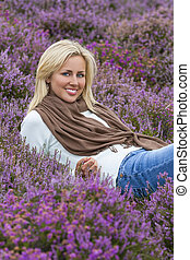Young Woman Girl in Field of Purple