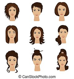 Young woman girls with various different hair style set.