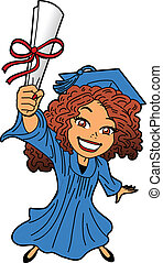 Happy Smiling Young Woman at Graduation With Diploma, Cap and Gown