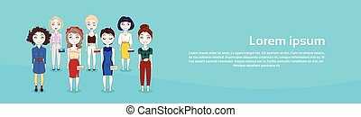 Young Woman Group Cute Girls Full Length Horizontal Banner...