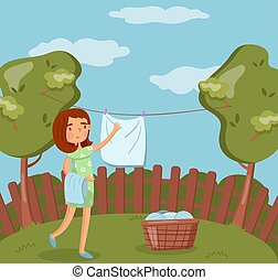 Young woman hanging wet clothes after washing on the line outdoors vector Illustration