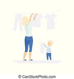 Young woman hanging wet clothes out to dry, little son helping her, family lifestyle concept vector Illustration on a white background