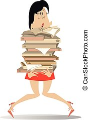Young woman hardly holds a lot of books or documents...