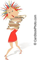 Young woman hardly holds a lot of books or documents isolated