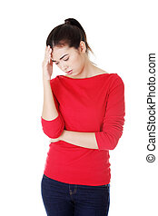 Young woman have big problem or headache