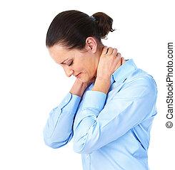 Stress. - Young woman having a head ache. Stress.