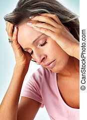 Stress. - Young woman having a head ache. Stress.