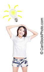 Young woman having an idea with light bulb