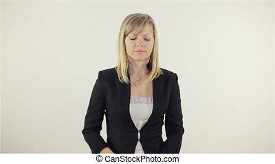 Young woman having cramps, Full HD